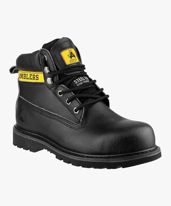 74bbafa6d75 Mens Safety Work Boots Black Leather Steel Toe Cap Laced Rubber Sole  Amblers FS9