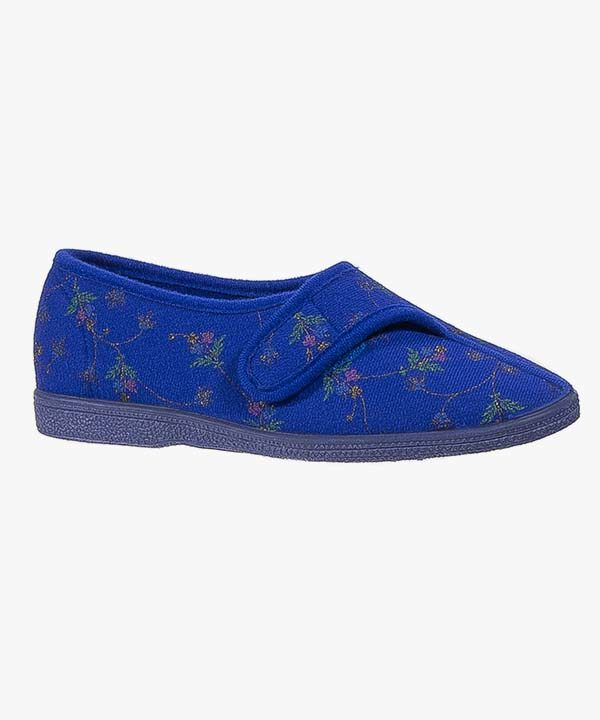 Womens Ladies Velcro Wide EE Fit Slippers Navy Blue Floral Washable Rubber Soled Sleepers LS628C