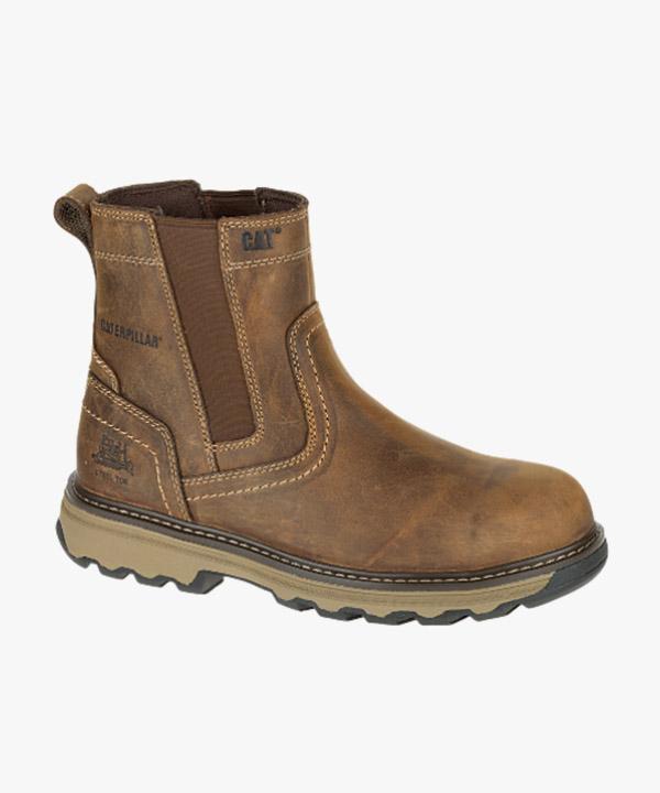 Mens Caterpillar Pelton Safety Work Boots Dark Brown Full Grain Leather Steel Toe Cap Slip On