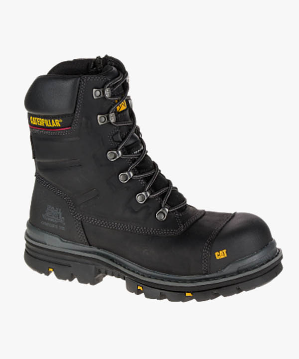 Mens Caterpillar Premier Waterproof Safety Work Boots Black Leather Composite Laced