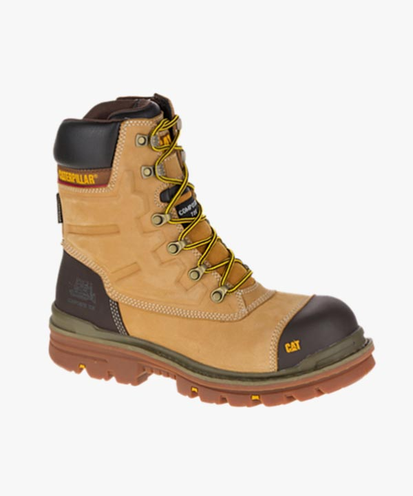 Mens Caterpillar Premier Waterproof Safety Work Boots Honey Leather Composite Laced