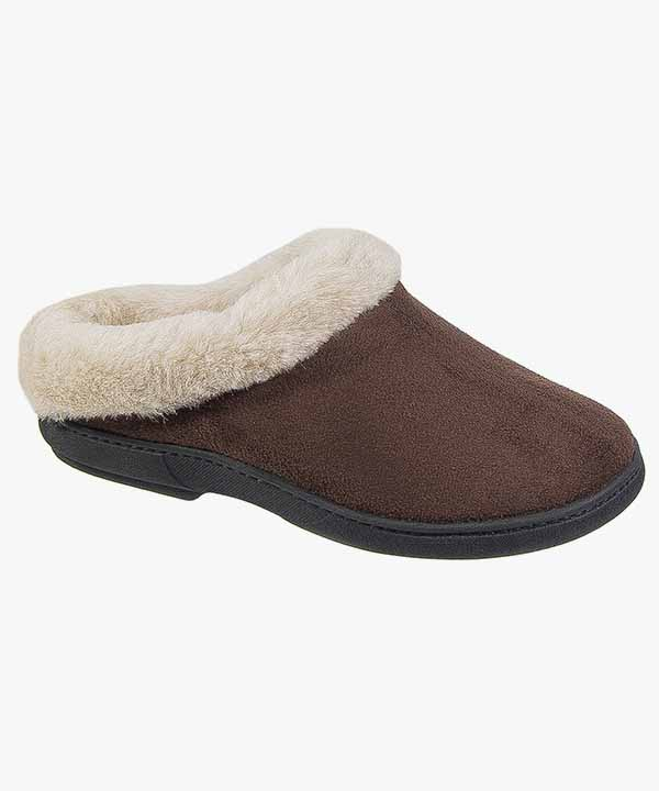 a1f3c40ecf6cb Womens Ladies Mule Slippers Brown Warm Lined Slip On Coolers 090 ...