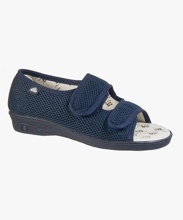 67bdb80ca67 Womens Ladies Extra Wide EEE Sandals Navy Blue Touch Fasten Sanitized  Washable