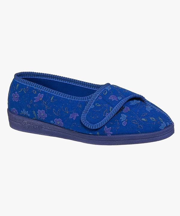 99e7d3e1c249 Womens Ladies Touch Fastening Slippers Blue Floral Nylon Washable Rubber  Soled Comfylux LS442C · Womens Ladies Velcro Slippers Navy ...