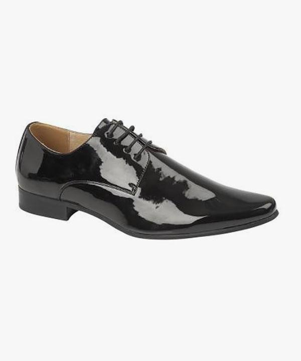 6962e12792f Mens Patent Wedding Shoes Shiny Black Leather Lined Laced Goor M046AP –  Mega Footwear