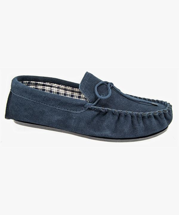 e51d037e816 Mens Moccasin Slippers Navy Blue Leather Suede Laced Outdoor Sole Sleepers  MS245NC