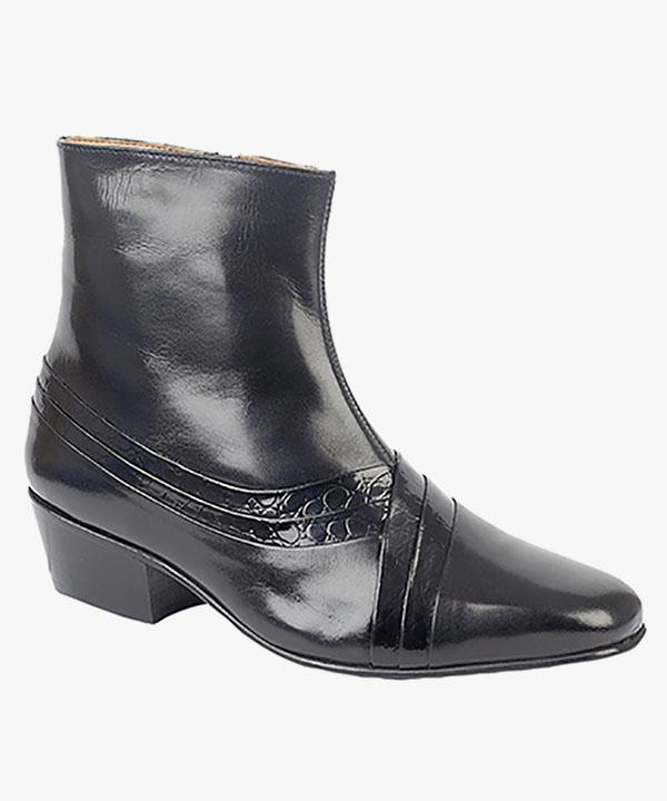 e8a6e3e52668 Mens Cuban Heel Boots Black Leather Formal Dress Wedding Slip On  Montecatini MT5113A