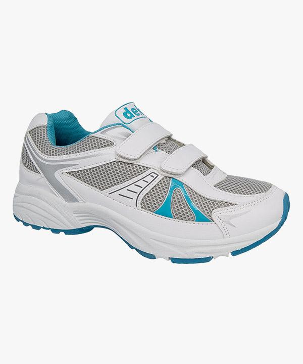 89a38aeedf7c Womens Ladies Velcro Trainers Blue White Gym Running Casual DEK T793GC