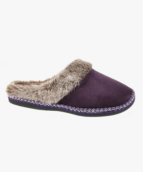 Womens Ladies Mule Slippers Fur Lined Plum Slip On Outdoor soled Coolers Premier W090