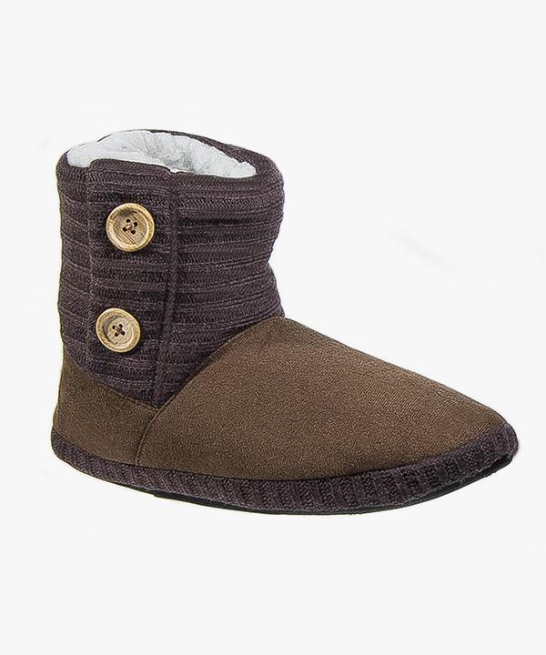 Womens Ladies Boot Slippers Brown Warm Polar Fleece Lined Button Coolers W121