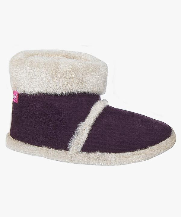 Womens Ladies Boot Slippers Plum Warm Lined Fluffy Slip On Coolers L100
