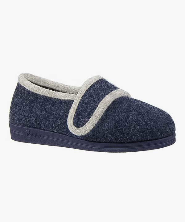 Womens Ladies Wide Fit Slippers Super Wide EEEE Navy Blue Touch Fastening Comfylux LS294NC