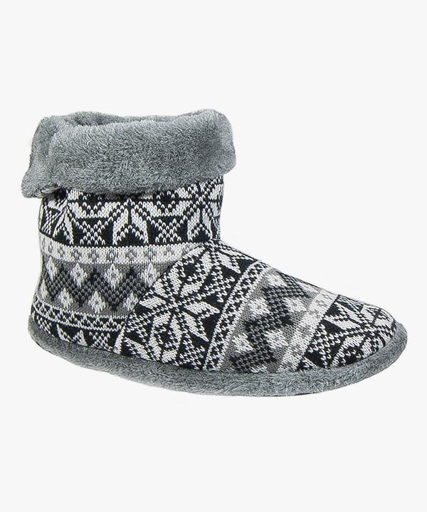 Mens Boot Slippers Black Grey Knitted Patterned Warm Lined Slip On Coolers M022
