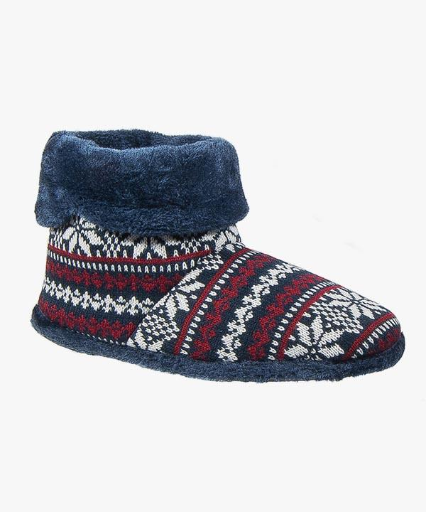 Mens Boot Slippers Navy Blue Knitted Patterned Warm Lined Slip On Coolers M022
