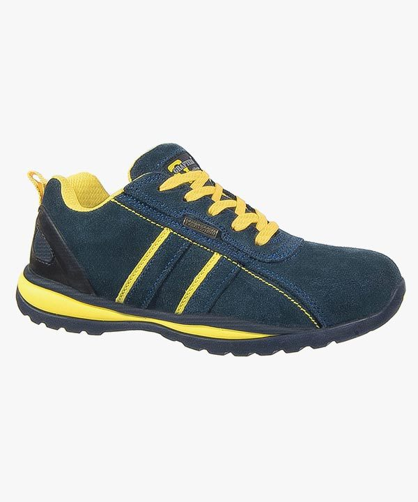 Mens Safety Work Trainer Shoes Navy Blue Leather Steel Toe Cap Rubber Soled Grafters M090CS