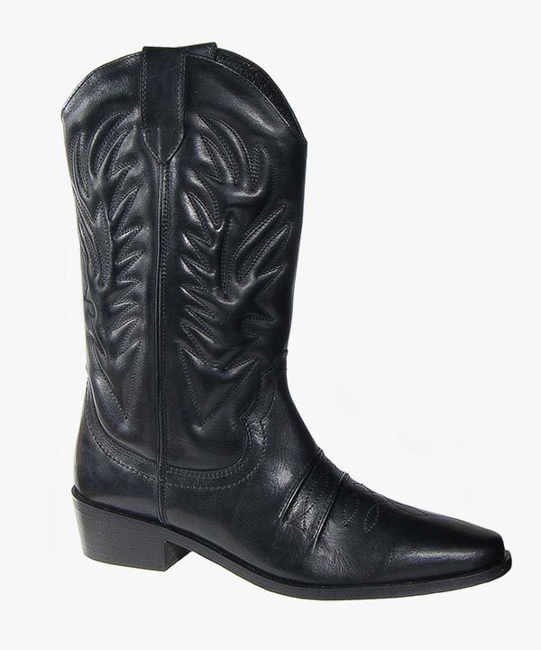 Mens Western Full Cowboy Boots Black Leather Slip On Rubber Soled Woodlands M699A