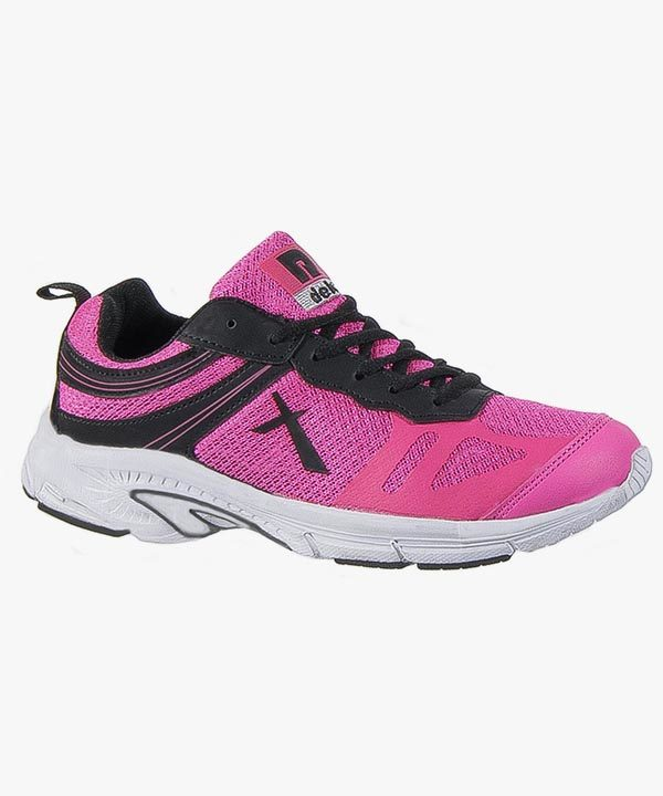Womens Ladies Trainers Pink Black Gym Sport Running Memory Foam Superlight Laced DEK
