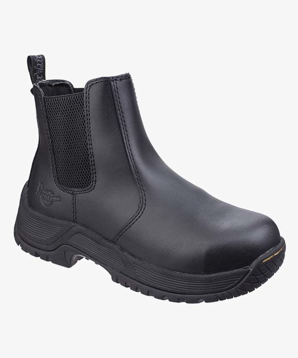 Mens Dr Martens Dealer Boots Black Leather Steel Safety Toe Cap Work Industrial Slip On Drakelow
