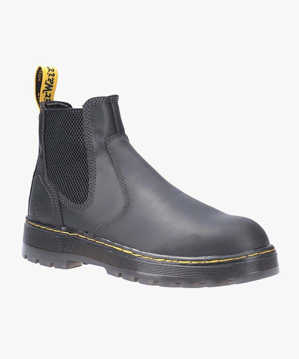 Mens Dr Martens Chelsea Safety Boots Black Leather Steel Toe Cap Work Industrial Slip On Eaves