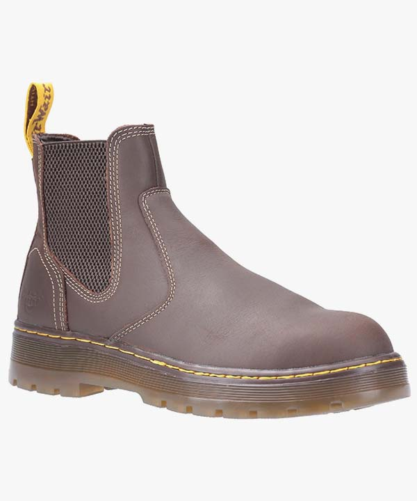Mens Dr Martens Chelsea Safety Boots Brown Leather Steel Toe Cap Work Industrial Slip On Eaves