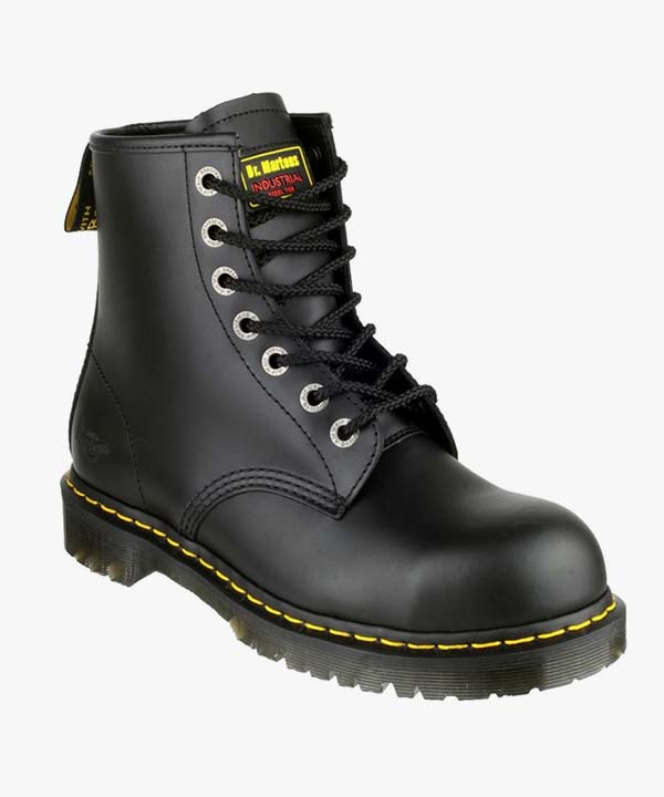 Mens Dr Martens Safety Boots Black Leather Steel Toe Cap Work Industrial Laced Icon 7B10