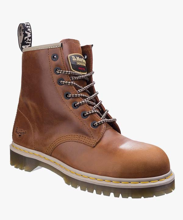 Mens Dr Martens Safety Boots Tan Leather Steel Toe Cap Work Industrial Laced Icon 7B10