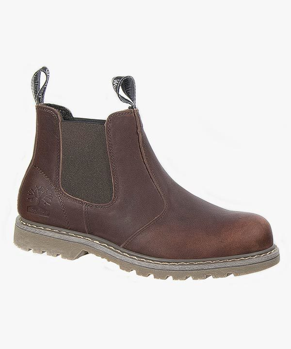 Mens Chelsea Boots Dark Brown Tumbled Leather Goodyear Welted Soled Slip On Woodland M858B