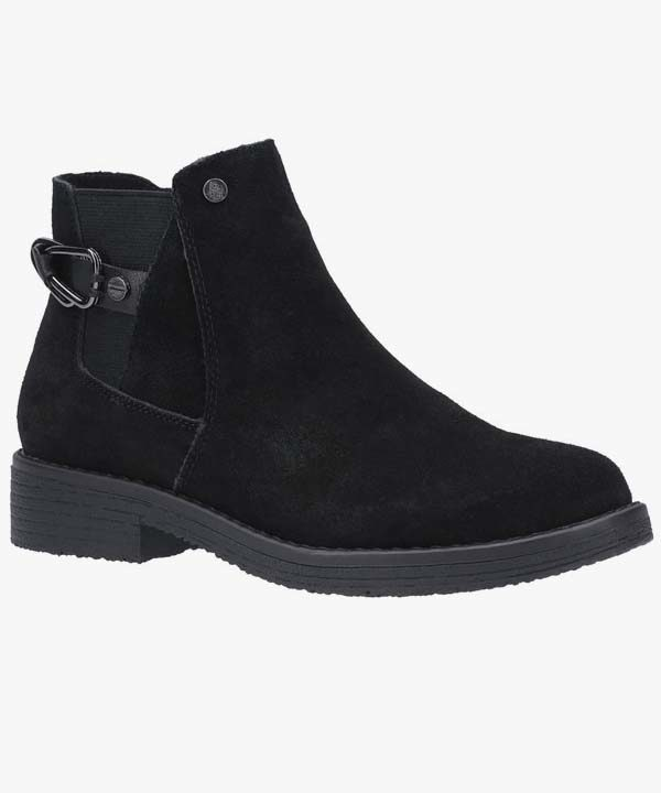 Ladies Womens Hush Puppies Chelsea Boot Black Leather Suede Warm Lined Slip On Alaska