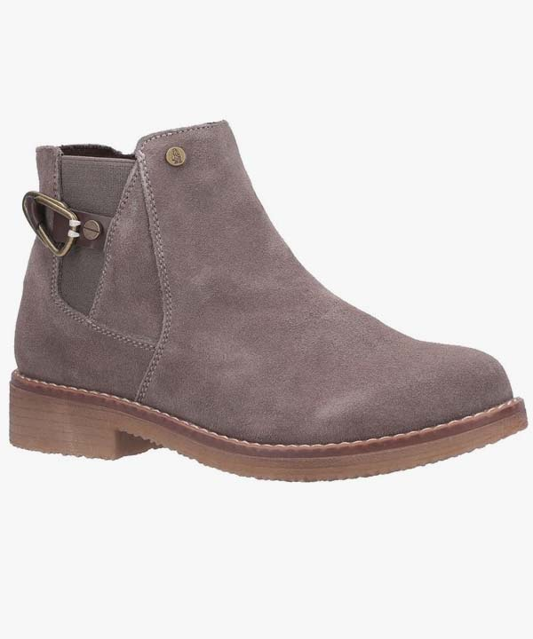 Ladies Womens Hush Puppies Chelsea Boot Dark Grey Leather Suede Warm Lined Slip On Alaska
