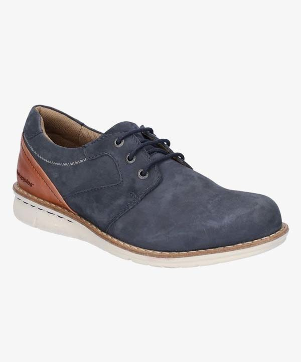 Mens Hush Puppies Shoes Navy Blue Leather Dual Fit Laced Padded Chase