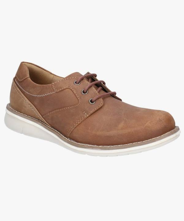Mens Hush Puppies Shoes Tan Leather Dual Fit Laced Padded Chase