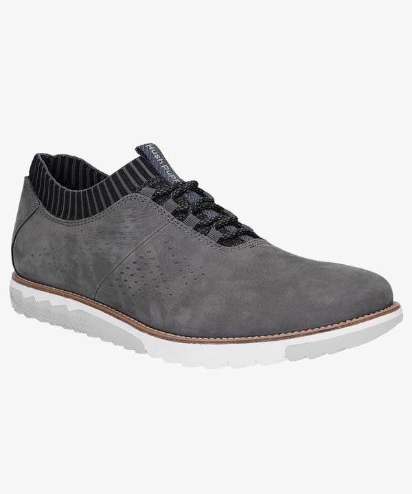 Mens Hush Puppies Laced Shoes Grey Leather Nubuck Expert Knit Oxford