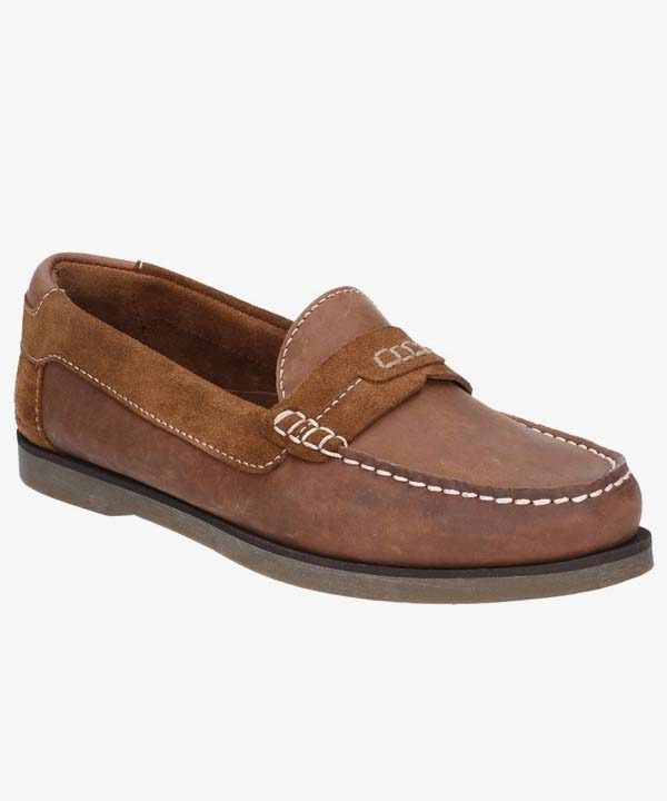 Mens Hush Puppies Deck Shoes Tan Leather Nubuck Laced Slip On Finn