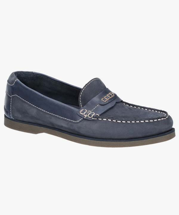 Mens Hush Puppies Deck Shoes Navy Blue Leather Nubuck Laced Slip On Finn