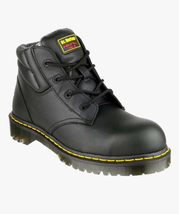 Mens Dr Martens Safety Boots Black Leather Z Welt Laced Steel Toe Cap Icon 7B09