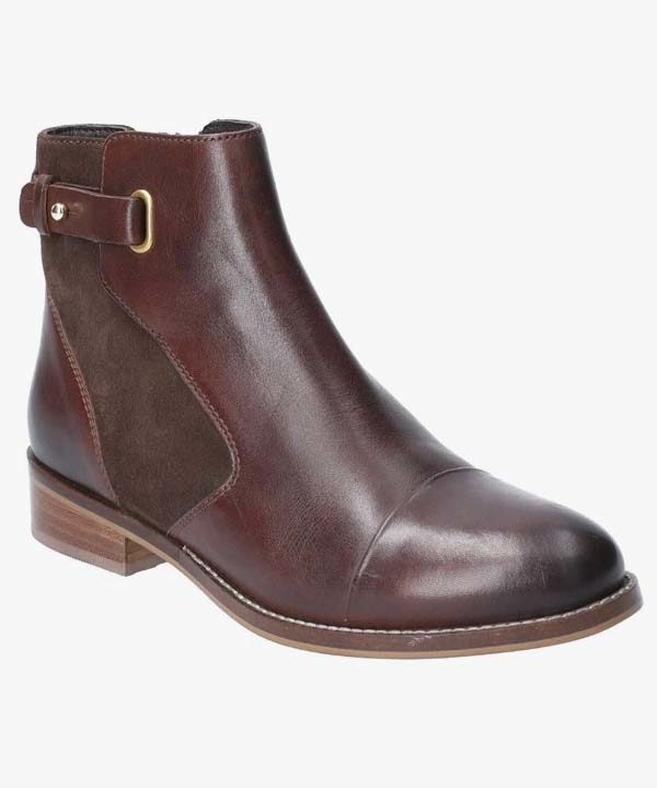 Ladies Womens Hush Puppies Casual Boots Brown Leather Suede Hollie