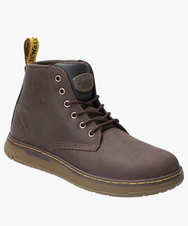 Mens Dr Martens Safety Work Boots Brown Leather Steel Toe Cap Laced Ledger