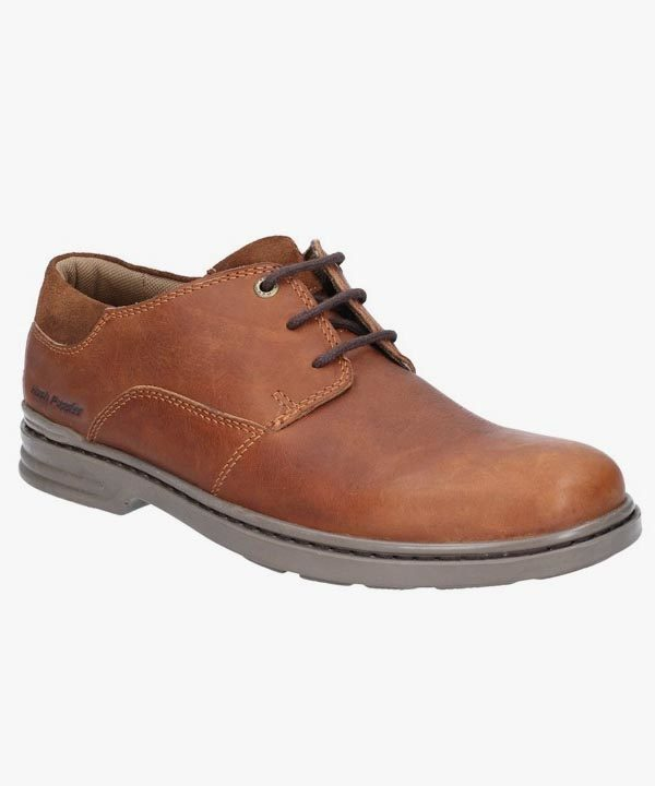Mens Hush Puppies Shoes Brown Leather Dual Fit Lightweight Laced Max Hanston