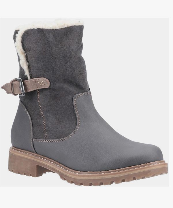 Womens Ladies Divaz Winter Boots Grey Warm Lined Buckle Fastening Melanie