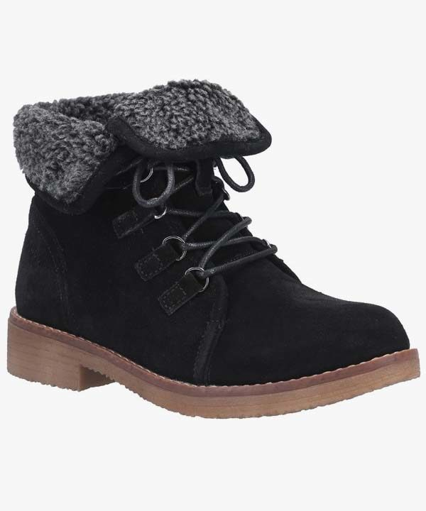 Ladies Womens Hush Puppies Winter Boots Black Leather Suede Warm Lined Laced Milo