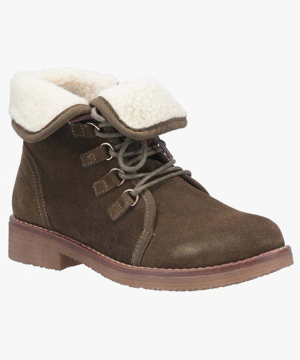 Ladies Womens Hush Puppies Winter Boots Khaki Leather Suede Warm Lined Laced Milo