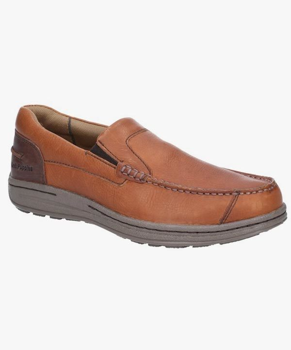 Mens Hush Puppies Slip On Shoes Tan Brown Leather Dual Fit Casual Murphy Victory