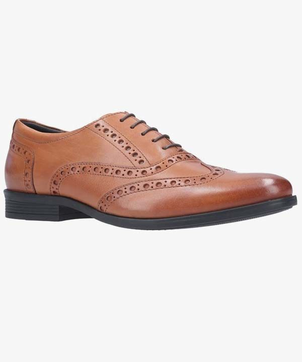Mens Hush Puppies Oxford Brogue Shoes Dark Brown Leather Lightweight Laced Oaken