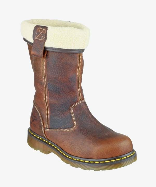 Womens Ladies Dr Martens Safety Work Boot Brown Leather Steel Cap Slip On Rosa