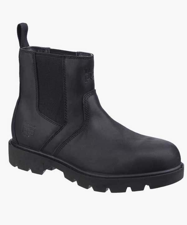 Mens Timberland Sawhorse Dealer Boots Steel Toe Cap Black Leather Nubuck Slip On