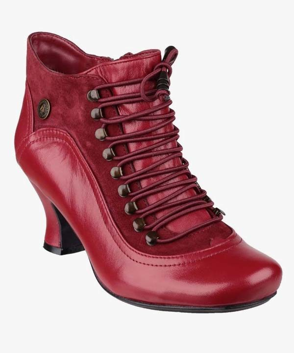 Ladies Womens Hush Puppies Ankle Boots Red Leather Vivianna