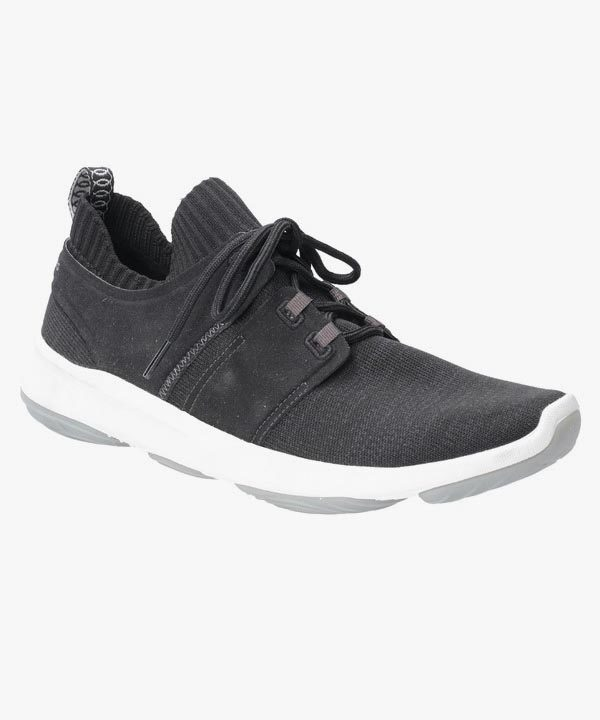 Mens Hush Puppies Trainers Black Shock Absorbing Laced World Bouncemax