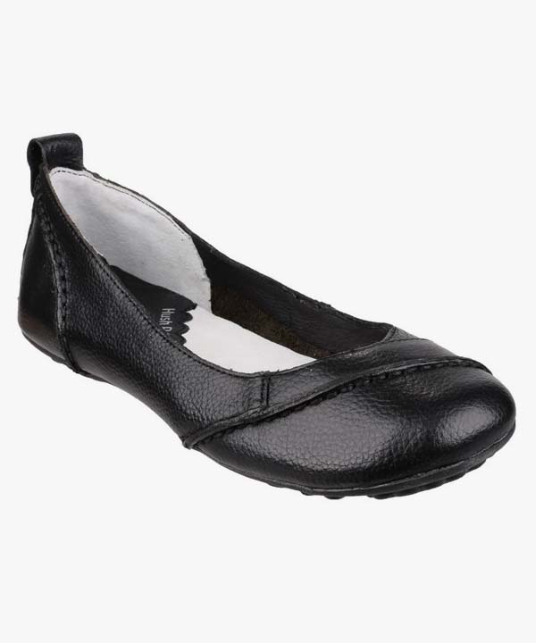Ladies Womens Hush Puppies Slip On Shoes Soft Black Leather Janessa