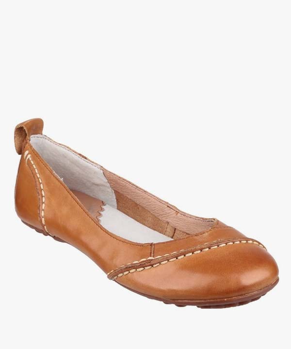 Ladies Womens Hush Puppies Slip On Shies Tan Soft Leather Janessa