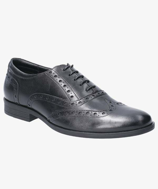 Mens Hush Puppies Oxford Brogue Shoes Black Leather Lightweight Laced Oaken